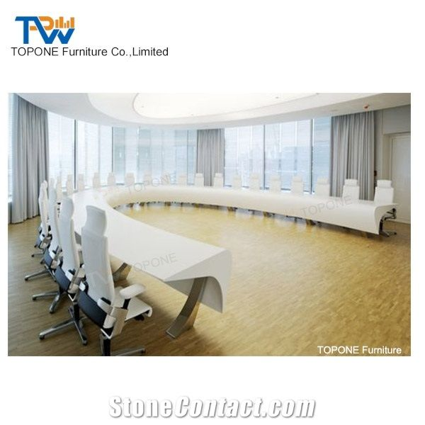 High Quality Luxury White Artificial Marble Stone Curved Conference - Curved conference table