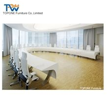 High Quality Luxury White Artificial Marble Stone Curved Conference Room Board Table Tops Design Acrylic Solid Surface Meeting Furniture