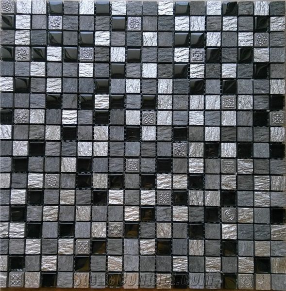 Black Slate Mix Glass Resin Mosaic Tile Kitchen Bathroom Wall Tile From China Stonecontact Com