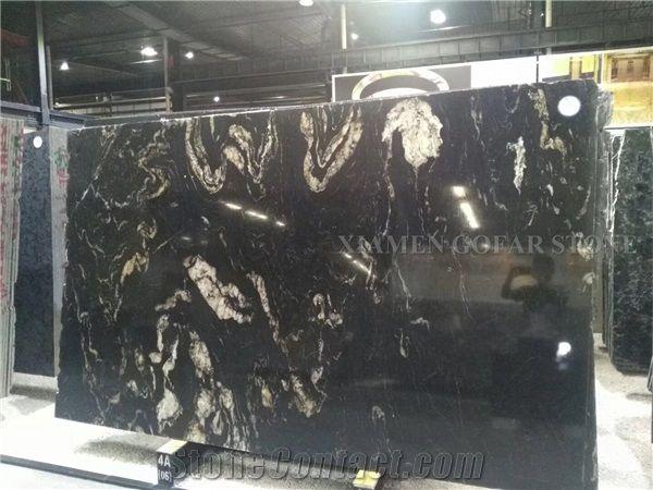 A Quality Cosmic Black Titanium Granite Polished Slabs