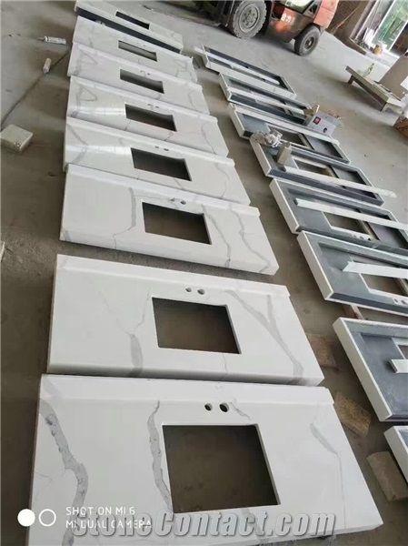 Artificial calacatta white quartz marble stone vanity top - Engineered stone bathroom countertops ...
