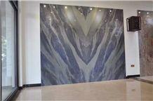 Azul Do Mar Quartzite Polished Machine Bookmatched Cutting Walling Background,Brazil Blue Quartzite Tile Panel Wall