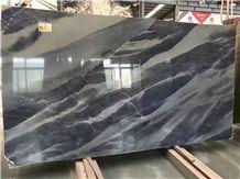 Azul Do Mar Quartzite Polished Machine Cutting Walling Background,Brazil Blue Quartzite Tile Panel Wall
