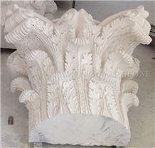 France Beige Limestone Column Top Handcarved Sculptured,Seashell Coral Stone Roman Ionic Column Base for Villa Exterior Decoration