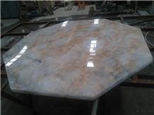 Ivory Beige Crystal White Onyx Stone Polished Tabletop Interior,Worktop Dinner,Table Top