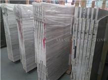 Platinum Brazil White Wooden Vein Marble Slabs Machine Cutting Panel Tiles for Bathroom Walling,Flooring Tiles Pattern