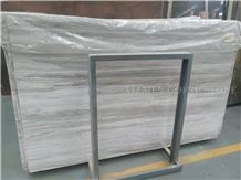 Platinum White Wooden Vein Marble Slabs Cutting Brazil Panel Tiles for Bathroom Walling,Flooring Tiles Pattern