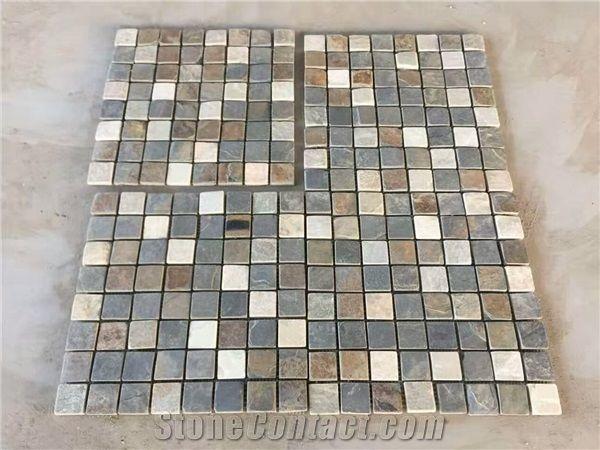 Beige Grey Slate Limestone Garden Floor Mosaic Tiles And Wall