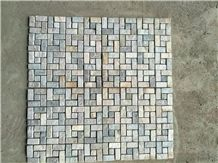 Beige Yellow Rusty Green Slate Mosaic Tiles Floor Mosaic Pattern Wall Mosaic Cladding