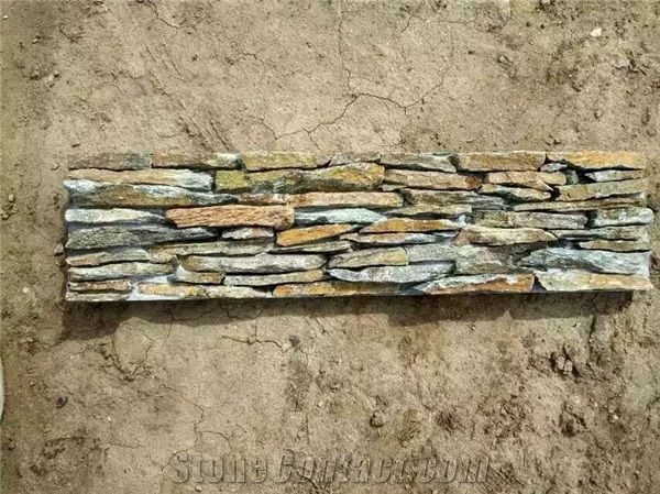 Cement Cultured Stone Wall Panel Concrete Back Natural Slate ...
