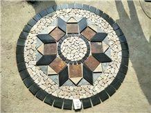 Natural Slate 1.5 Meter Diameter Round Shape Slate Stone Mosaic Floor Pattern Multicolor Natural Stone Splicing Mosaic Medallion