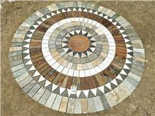 Natural Slate 2.5 Meter Diameter Round Shape Mosaic Floor Pattern Mosaic Medallions Splicing Mosaic Medallion Composited Medallion Round Medallions