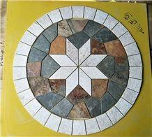 Round Shape Slate Mosaic Floor Pattern Mosaic Medallion Cultured Stone Mosaic Round Medallions