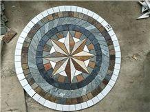 Round Shape Slate Mosaic Floor Pattern Round Mosaic Medallion Composited Medallion Cultured Stone Mosaic Medallions