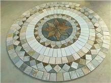 Round Shape Slate Mosaic Floor Pattern Round Mosaic Medallion Composited Medallion Cultured Stone Round Medallions Rosettes, Waterjet Rosettes