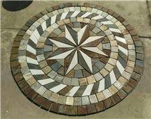 Round Shape Slate Mosaic Floor Pattern Round Mosaic Medallions Rosettes Composited Medallion Cultured Stone Mosaic Medallions