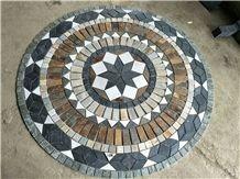 Round Shape Slate Mosaic Floor Pattern Round Mosaic Medallions Rosettes Cultured Stone Composited Medallion Round Medallions