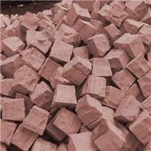 Raj Red Sandstone Cobbles, Pavers