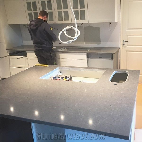 Grey Solid Surface Custom Design Kitchen Countertop ...