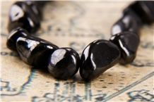 Shungite Beads Pebble Form Natural Healing Stone