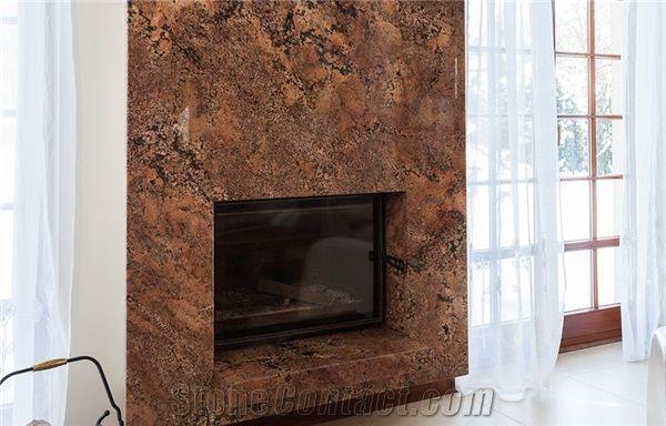 Bordeaux Fuji Granite Modern Fireplace, Granite Fireplace Surround Modern