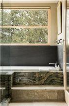 Verde Bamboo Quartzite Bathroom Renovation, Shower Design