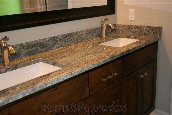 A Double Sink Vanity Top with Piracema White Stone from United