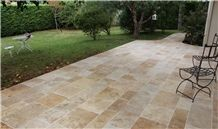 Ephesus Beige Travertine Versailles Pattern, Tumbled Patio Pavers