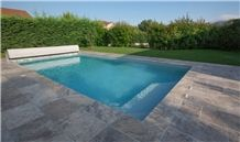 Silver Travertine Pool Pavers, Pool Coping