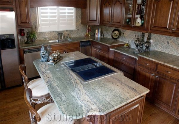 Waterfall Green Granite Kitchen Island Top From United States