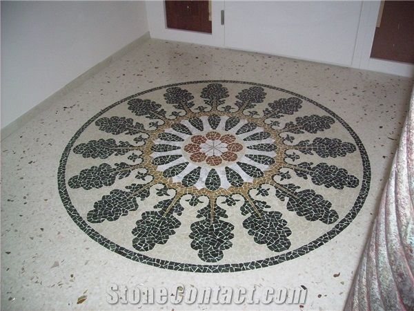 Venetian Terrazzo Flooring Entrance And Marble Mosaic Rosette From Italy Stonecontact Com