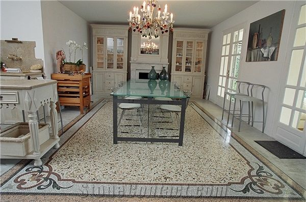 Venetian Terrazzo With Marble Mosaic Frame From Italy