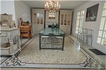 Venetian Terrazzo with Marble Mosaic Frame