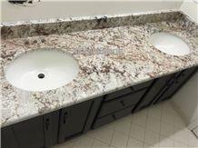 Galaxy White Granite Vanity Top, White Galaxy Bath Vanities with Flat,Full Round Edge,Brazilian White Granite for Tops, Good Price for White Granite