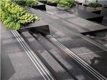 Angola Black Granite Stair Treads and Threshold