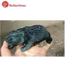 Handmade Natural Stone Black Jade Bear Statue,Large Carved Myanmar Black Green Jade Black Bear Carved for Gift