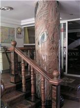 China Multicolor Juparana Red Spray Wave Granite Polished Interior Balustrades,Handrail,Railings for Staircase, Baluster
