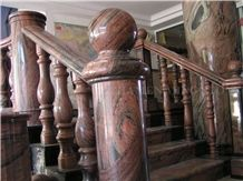 China Multicolor Juparana Red Spray Wave Granite Polished Interior Balustrades,Handrail,Railings for Staircase, Staircase Baluster