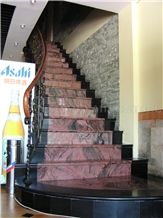 China Multicolor Juparana Red Spray Wave Granite Polished Staircase,Interior Floor Stepping Covering,Riser Home Decoration