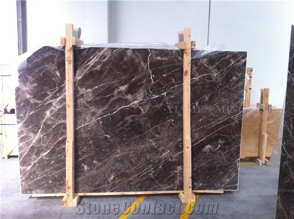 Turkey Alanya Dark Emperador Marble Slabs Flooring Tiles For Hotel Cafe Brown Marron Pattern Polished