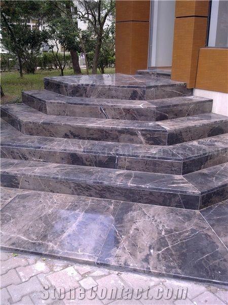 Dark Emperador Marble Deck Staircase