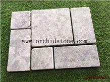 Dark Grey Limestone Pavers,Blue Limestone Courtyard Road Pavement,Exterior Patterns,Tumbled Flooring Covering,French Patterns,Patio Pavers Tiles,Cubes