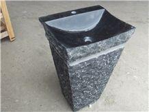 China Black Granite G654 Split Finish Pedestal Sink Wash Basin Vessel