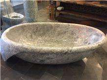 China Factory Custom Design Tundra Grey Marble Natural Stone Round Bathtub