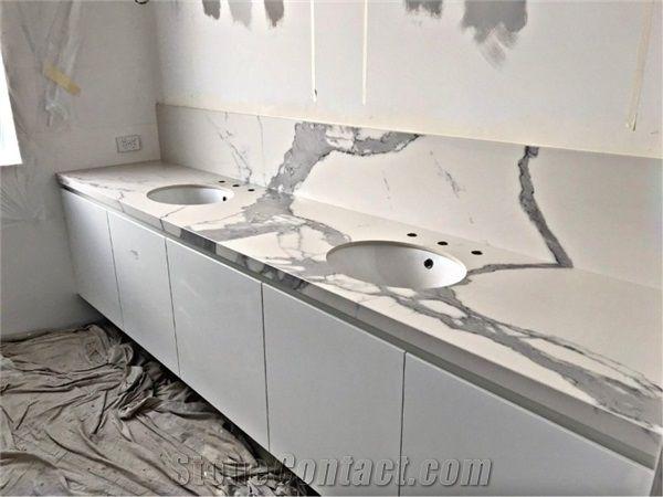 Customized Design Quartz Stone Bathroom Tops Calacatta Vanity For