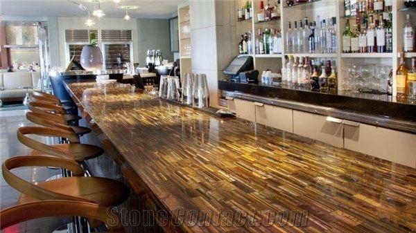 Tiger Eye Gold Semiprecious Stone Bar Countertop Island Top For Commercial