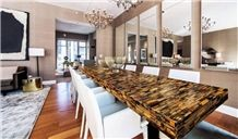 Tiger Eye Gold Stone Custom Countertops Semi Precious Stone Tiger Eye Bar Top,Commercial Counters for Project