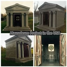 China Granite Stone Of 6 Crypts Family Mausoleum for Funeral Cemetery