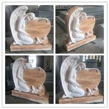 China Haobo Factory Good Price Wholesale Natural Stone Sunset Red Granite Heart Shape Angel Monument Carved with Rose and Dove for Usa