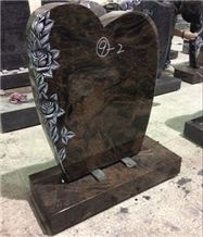 China Haobo Natural Stone Good Price Wholesale Red Aurora Granite Monument with Carved Rose for Sale